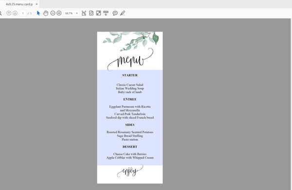 Greenery Wedding Menu Printable Template, Editable Instant Download, Menu Cards, DIY Dinner Menu  - Melissa