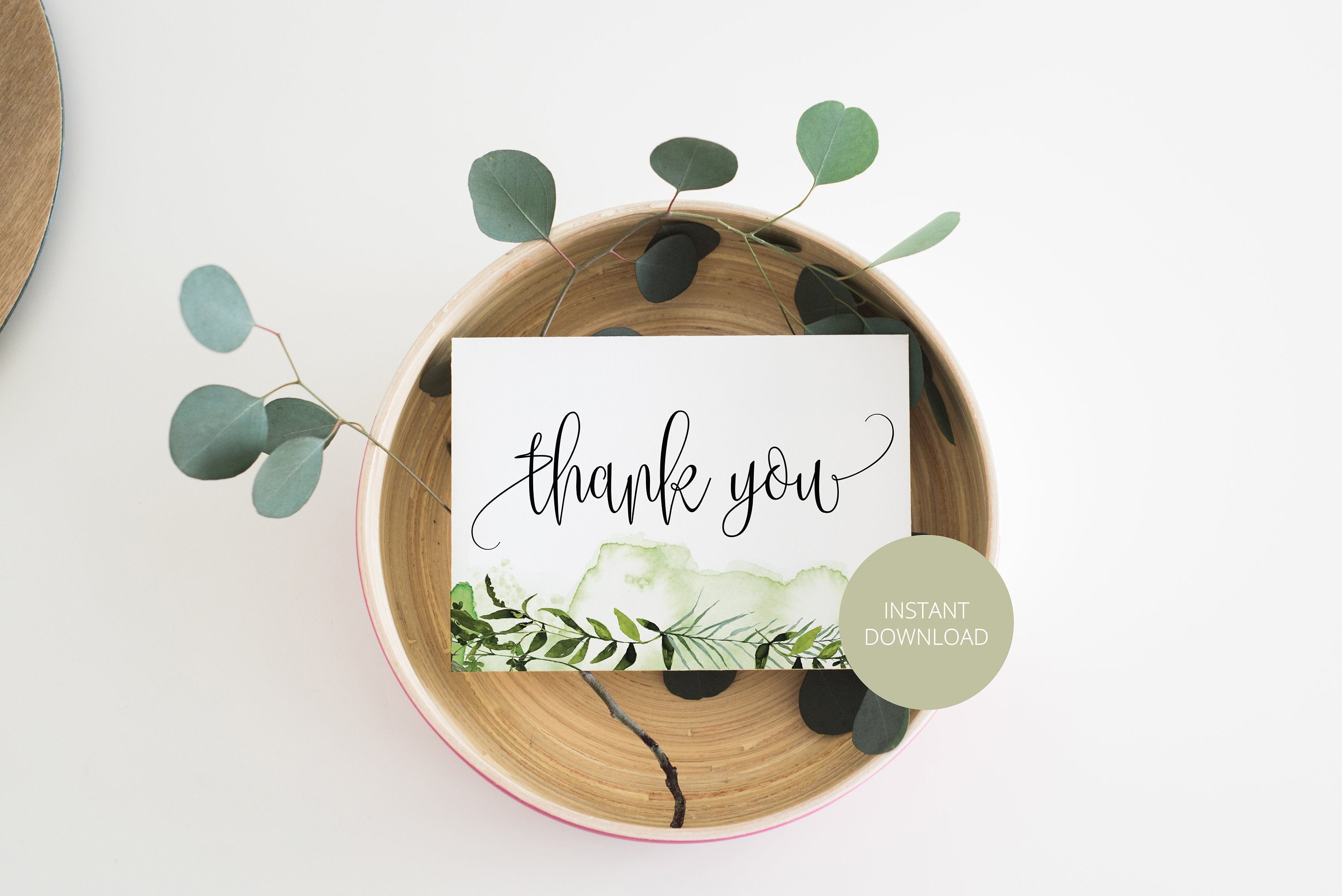 Simple Wedding Thank You Card, Instant Download, Thank you Cards, Printable Thank You, Wedding Cards, Greenery, Rustic - Melissa