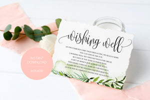 Simple Wedding Wishing Well Card Template,Instant Download, Editable Wishing, Wishing well Cards Insert, Greenery,Rustic  - Melissa