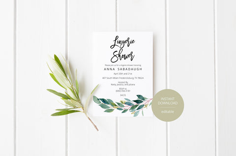 Greenery Lingerie Party Invitation Instant Download Printable Editable Template DIY Bridal Shower Invite  - ANNA