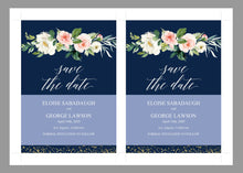 Load image into Gallery viewer, Printable Save-the-Date Template, Engagement Invite, PDF Instant Download, Greenery, Wedding Announcement, Gold, Navy  - Eloise