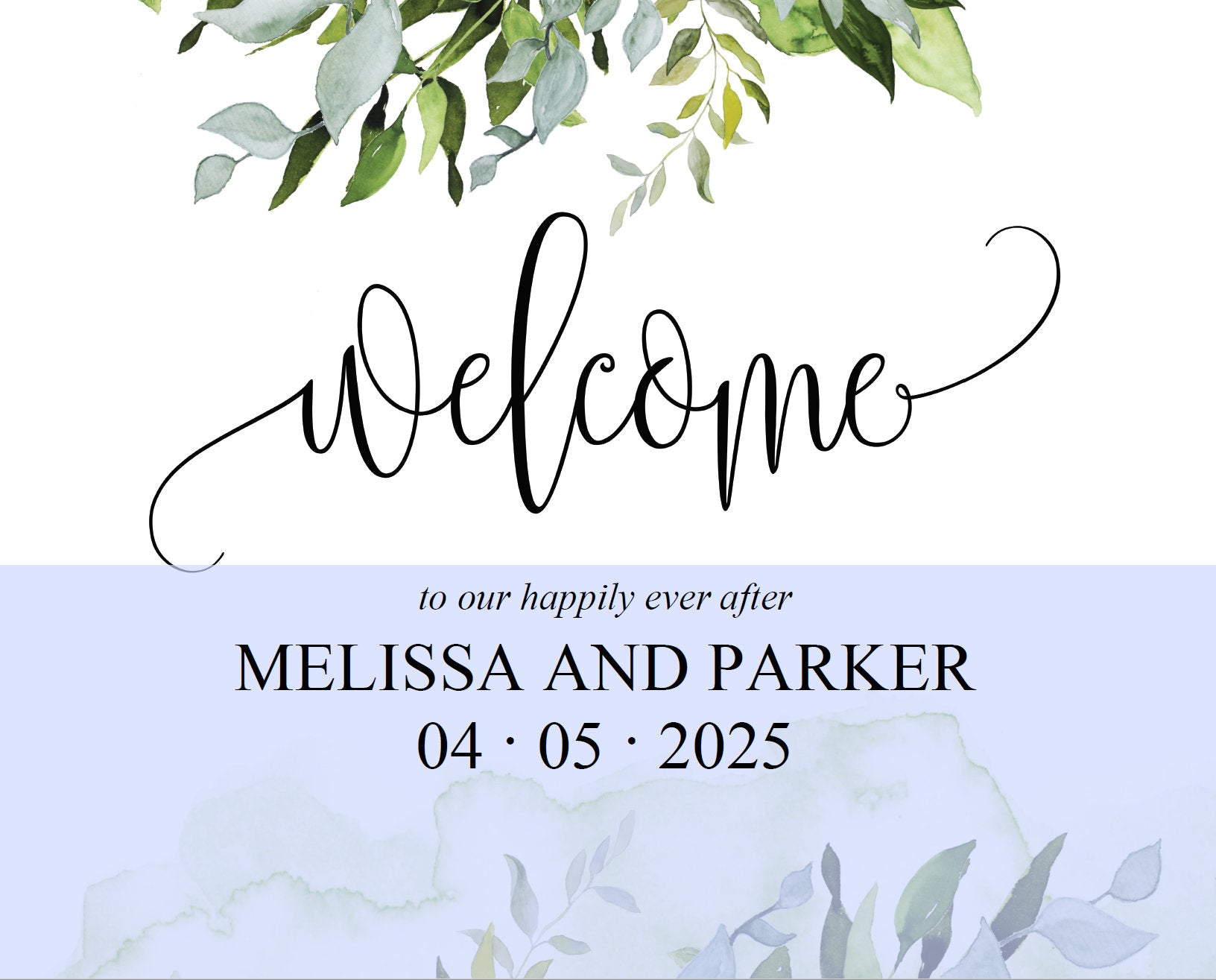 Printable Greenery Wedding Welcome Sign Editable Template Instant Download  -MELISSA
