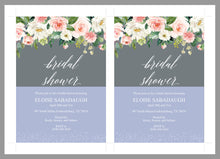 Load image into Gallery viewer, Bridal Shower Invitation Instant Download Printable Editable Template DIY Bridal Shower Invite Blush Floral Gray - Eloise