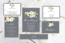 Load image into Gallery viewer, Printable Floral Gray Wedding Invitation Set Editable Template, DIY Instant Download Invites, Invitation Suite - Eloise