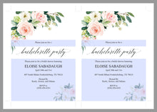 Load image into Gallery viewer, Blush Floral Bachelorette Party Invite, DIY Editable Instant Download Bachelorette Invites, Invitation Template - Eloise