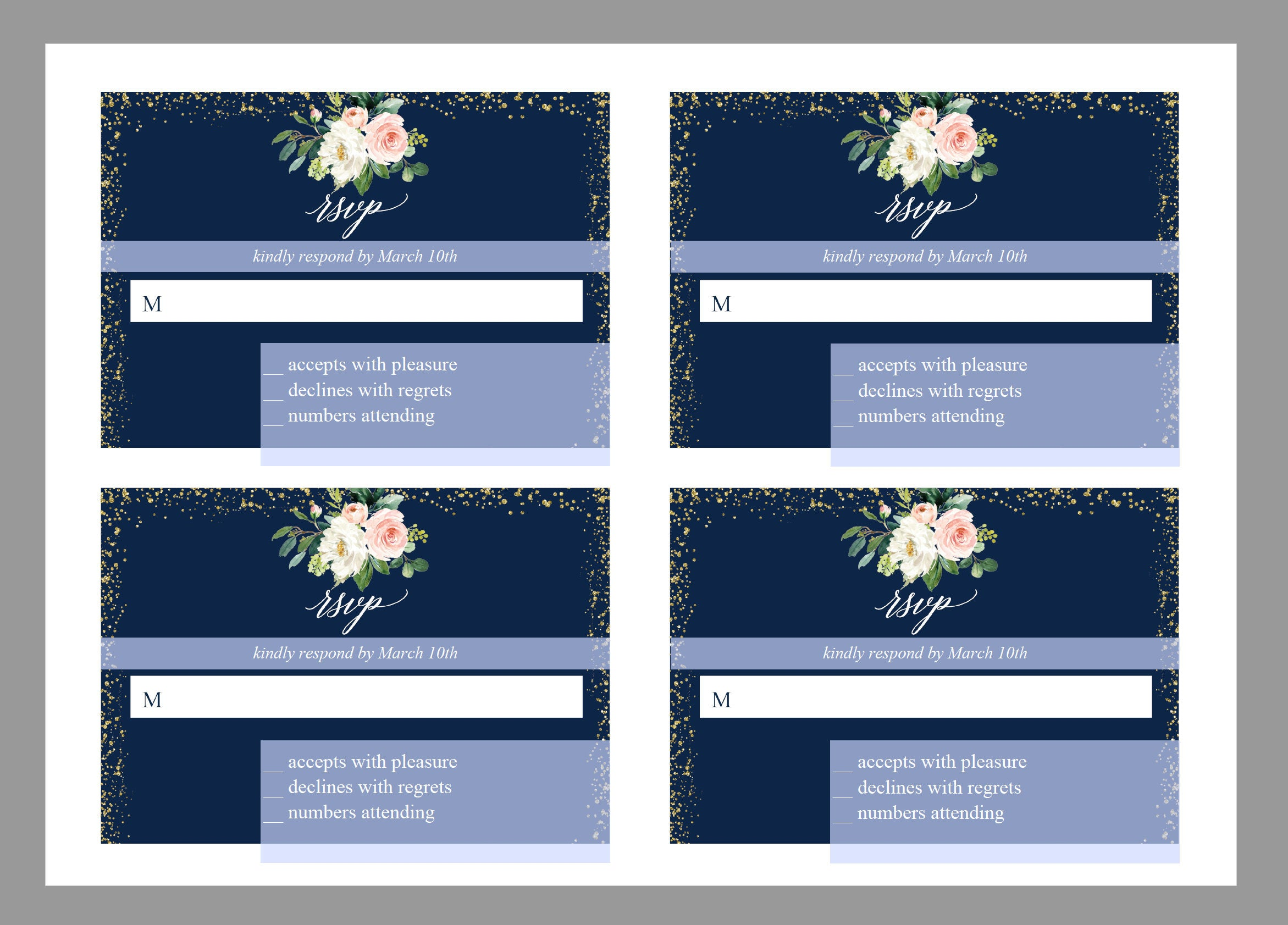 RSVP Card Template, Wedding RSVP, Response Card, RSVP cards, Gold Wedding, Printable rsvp, Wedding Response, Greenery, Navy blue  - Eloise