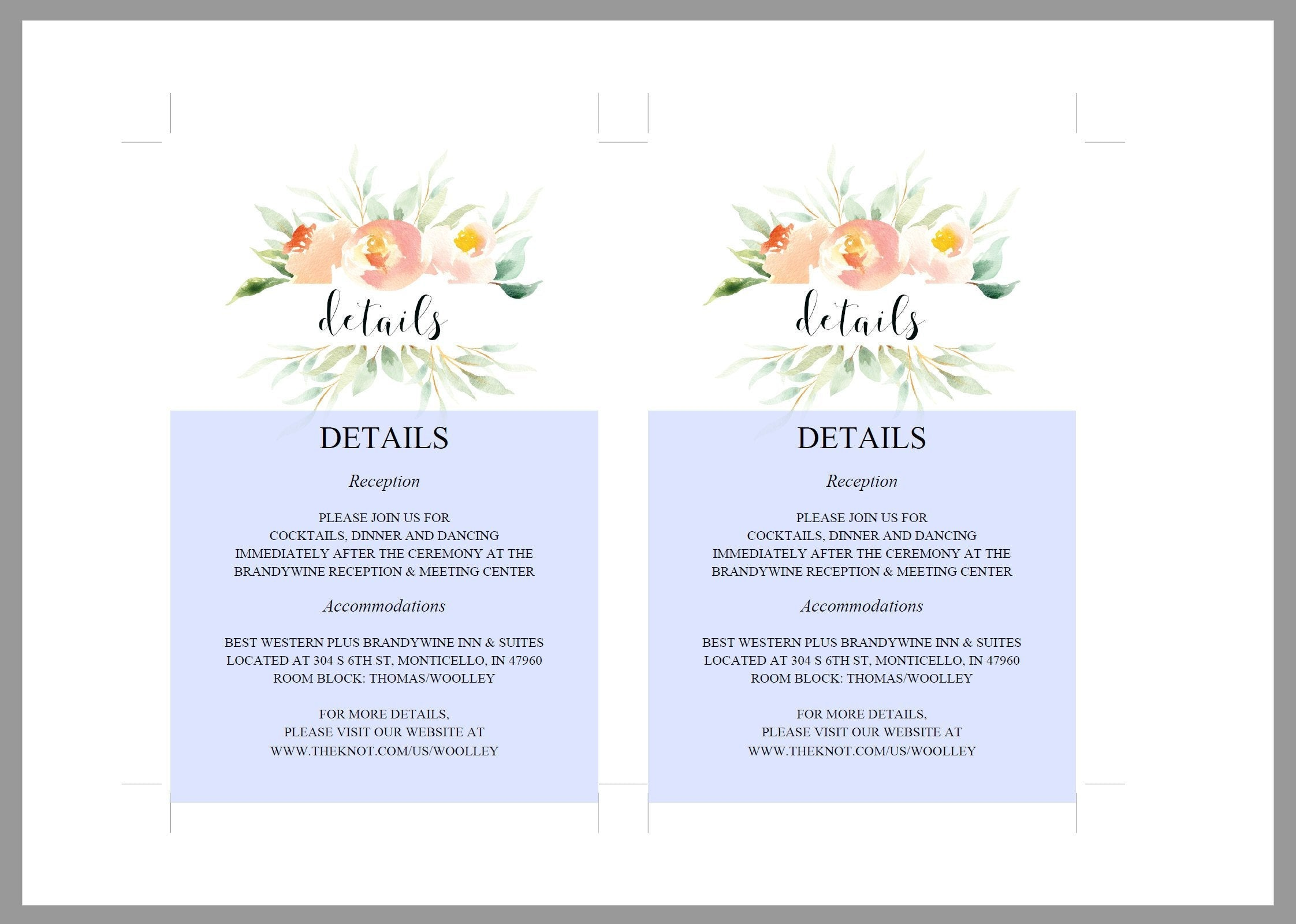 Wedding Details Card Template, Instant Download, Information Card, Wedding Info Card, Rustic Wedding,Details Template, Blush  - Sarah