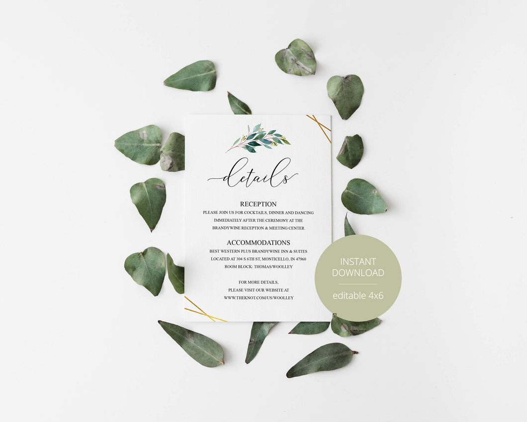 Wedding Details Card Template, Instant Download, Information Card, Wedding Info Card, Gold Wedding,Details Template, Geometric  - TARA