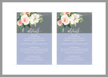 Load image into Gallery viewer, Wedding Details Card Template, Instant Download, Information Card, Wedding Info Card, Gray Silver Wedding,Details Template,Floral   - ELOISE