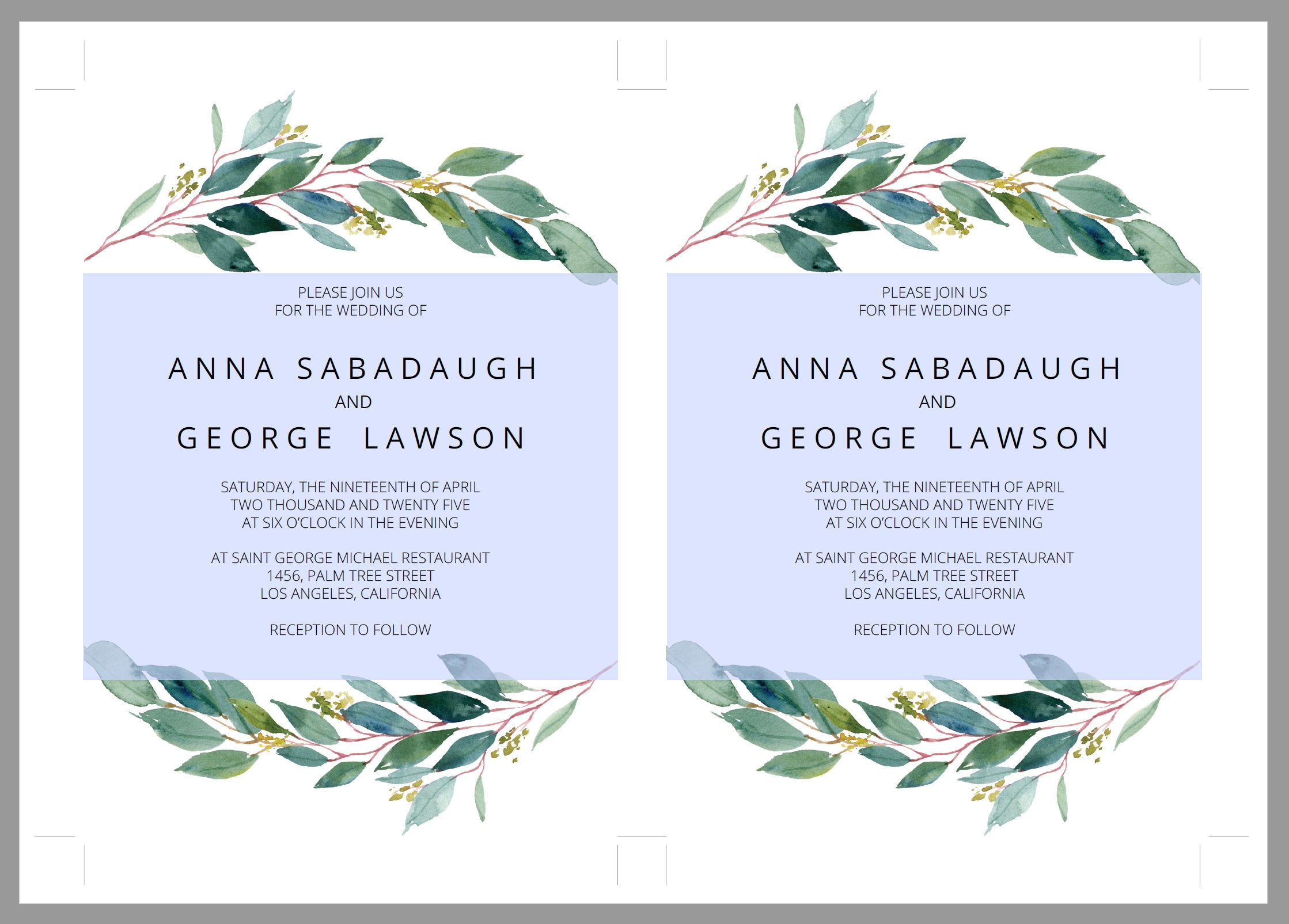 Printable Greenery Rustic Wedding Invitation Set Editable Template, DIY Instant Download Invites, Invitation Suite- Anna