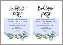 Load image into Gallery viewer, Greenery Bachelorette Party Invite, DIY Editable Instant Download Bachelorette Invites, Invitation Template - ANNA