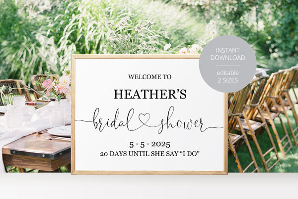 Bridal Shower Welcome Sign Printable Template Editable Instant Download Wedding Décor  - Heather