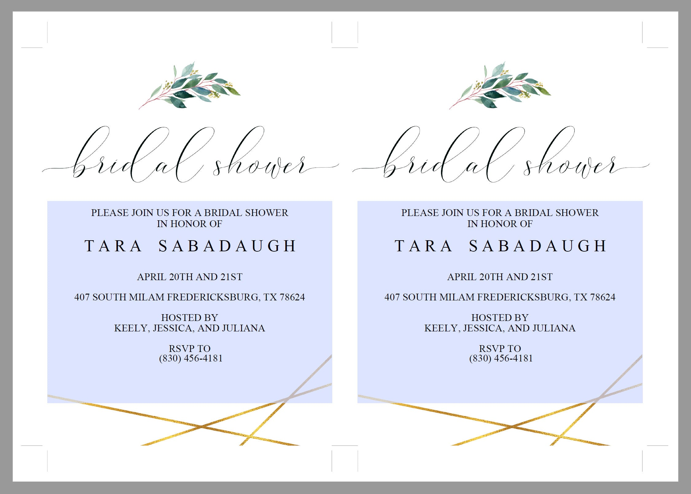 Gold Greenery Bridal Shower Invitation Instant Download Printable Editable Template DIY Bridal Shower Invite - TARA