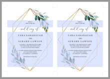 Load image into Gallery viewer, Greenery Wedding Invitation Template Faux Gold Foil Frame  Editable Invitation PDF Printable - TARA