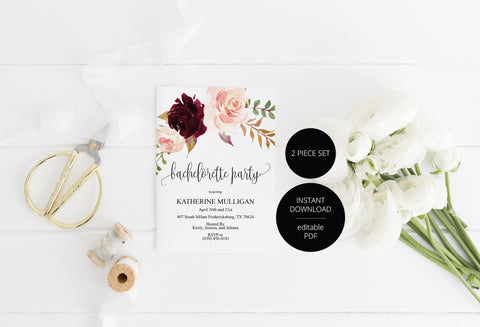 Burgundy Floral Bachelorette Party Invite, DIY Editable Instant Download Bachelorette Invites Invitation Template - Katherine