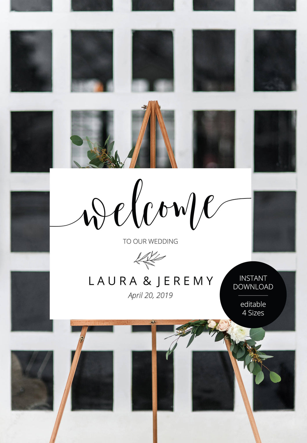 Printable Rustic Minimal Wedding Welcome Sign Editable Template Instant Download- HANNAH