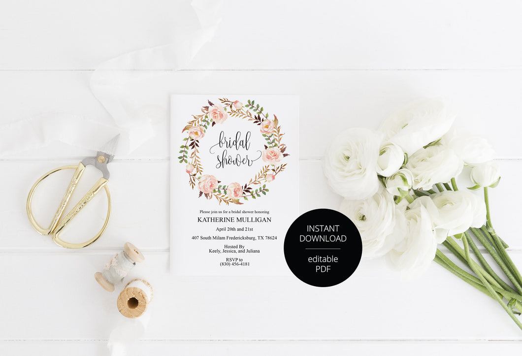Floral Bridal Shower Invitation Instant Download Printable Editable Template DIY Bridal Shower Invite - Katherine