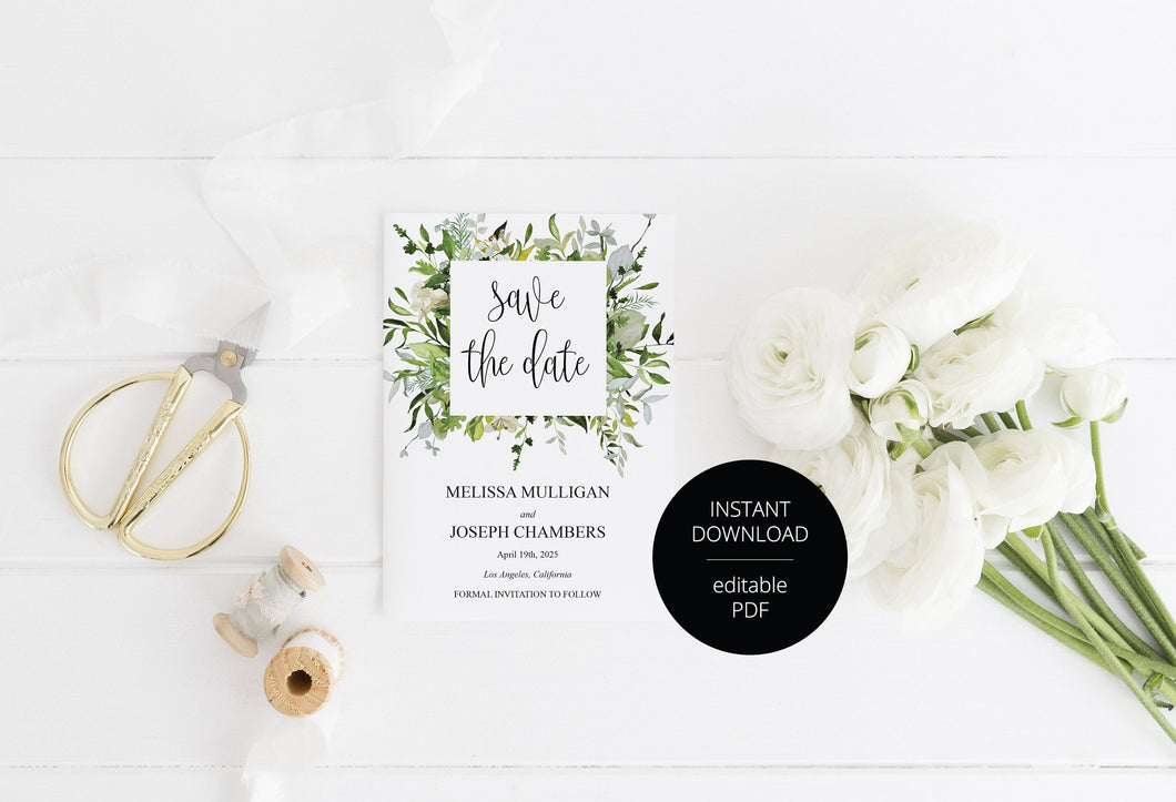 Printable Save-the-Date Template, Engagement Invite, PDF Instant Download, Greenery, Wedding Announcement - Melissa