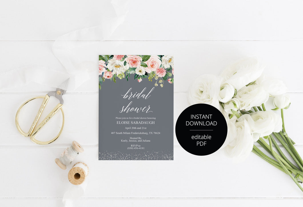 Bridal Shower Invitation Instant Download Printable Editable Template DIY Bridal Shower Invite Blush Floral Gray - Eloise