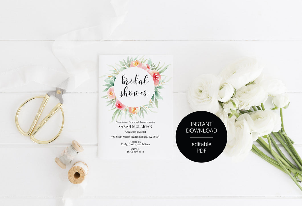 Blush Floral Bridal Shower Invitation Instant Download Printable Editable Template DIY Bridal Shower Invite - Sarah