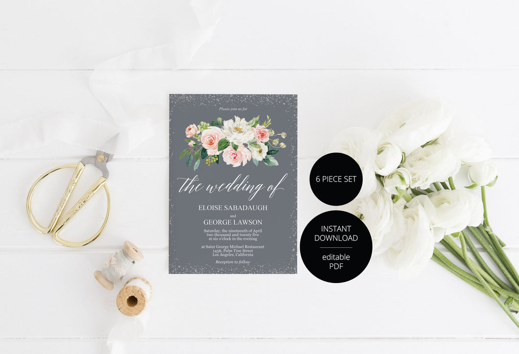 Printable Floral Gray Wedding Invitation Set Editable Template, DIY Instant Download Invites, Invitation Suite - Eloise