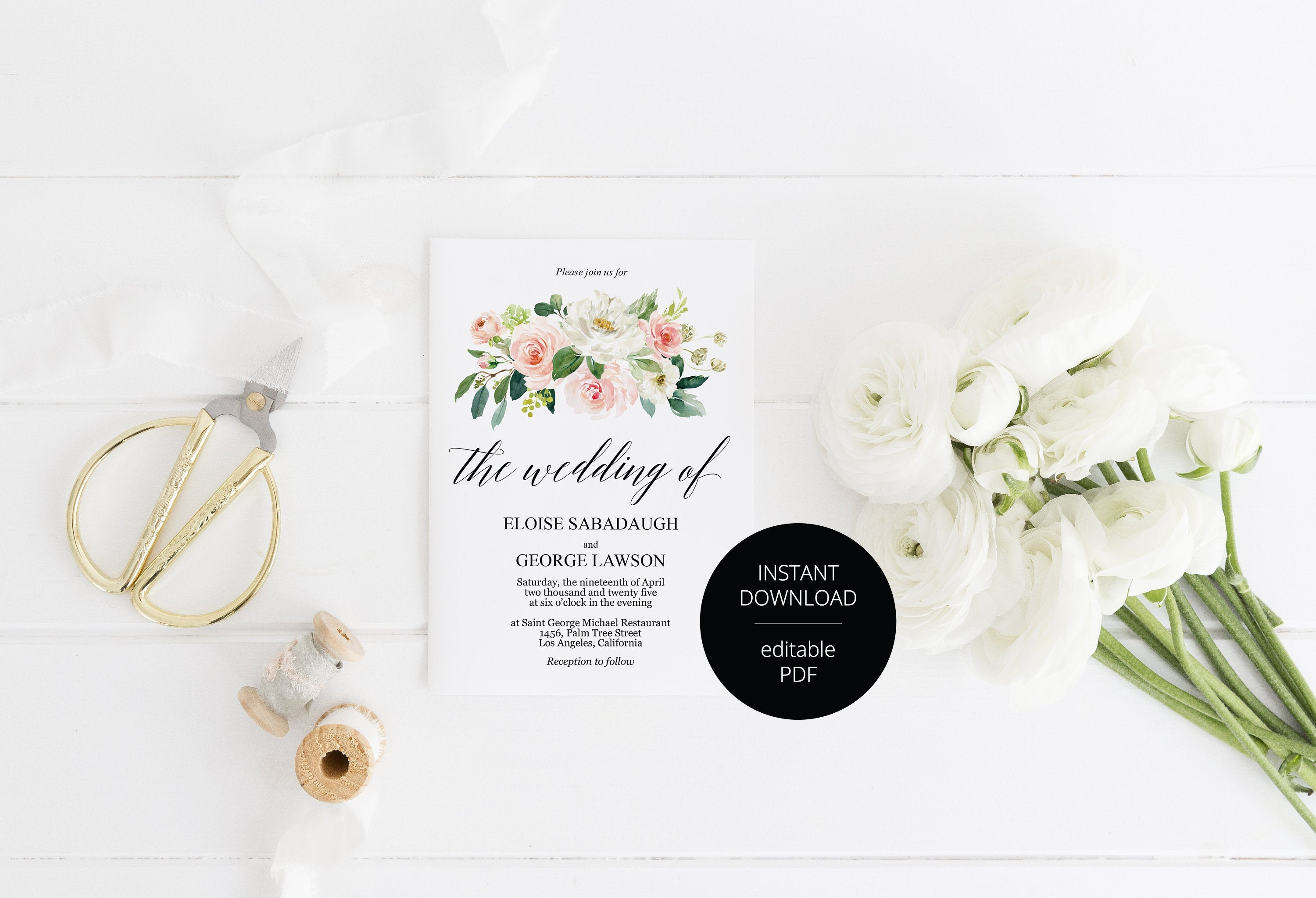 Blush Greenery Floral Wedding Invitation Editable Template, Printable DIY Instant Download Invites, Digital Download Invitations-Eloise