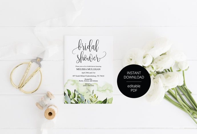 Greenery Bridal Shower Invitation Template, Instant Download, Printable, Editable Invite, DIY, Bridal Shower Invites - Melissa