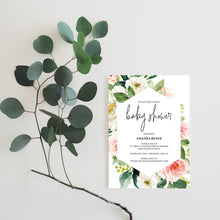 Load image into Gallery viewer, Printable Geometric Baby Shower Invitation Template,Floral, Greenery, Baby Shower invite, Invitation, Blush Baby Shower Invites - EV23