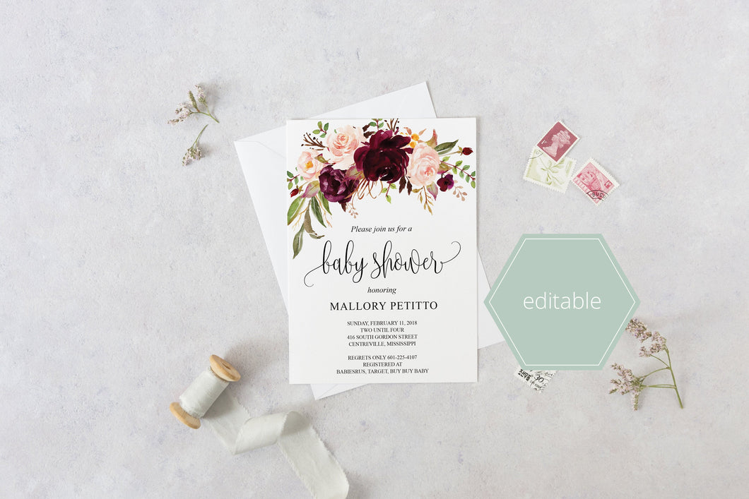Printable Baby Shower Invitation Template, Baby Shower invite, Burgundy, Floral, Invitation, Baby Shower Invites - MPU78
