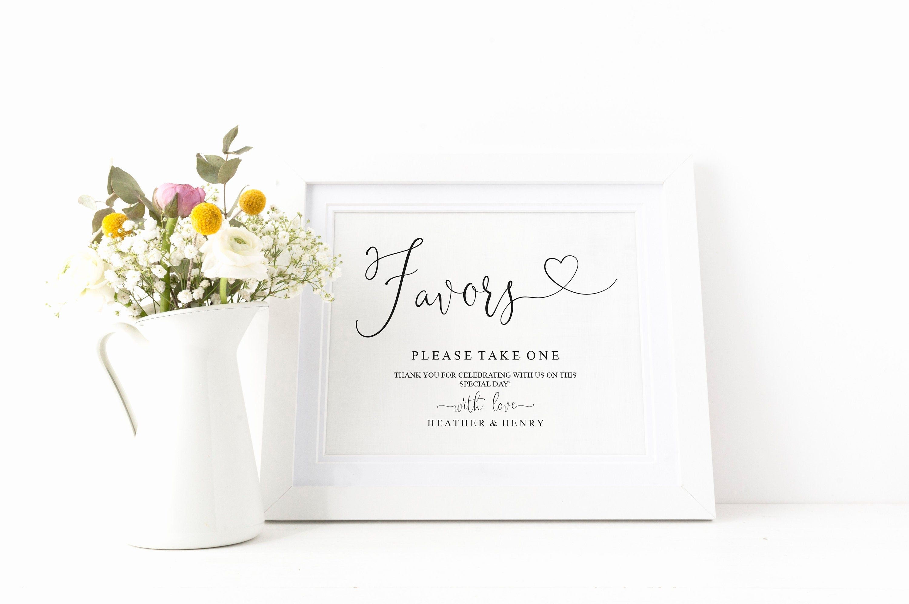 Printable Wedding Favor Sign,Wedding Favors template,Wedding Sign,Please Take One,Wedding Printable,Wedding signs, Instant Download -Heather