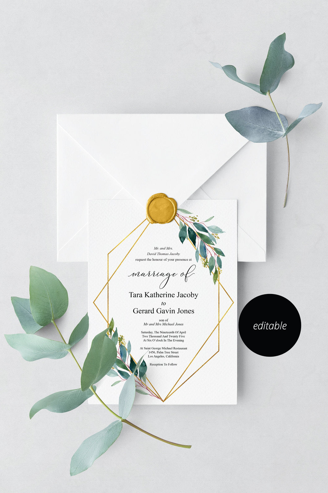 Greenery Geometric Wedding Invitation Editable Template, Printable DIY Instant Download Invites, Digital Download Invitations- TARA