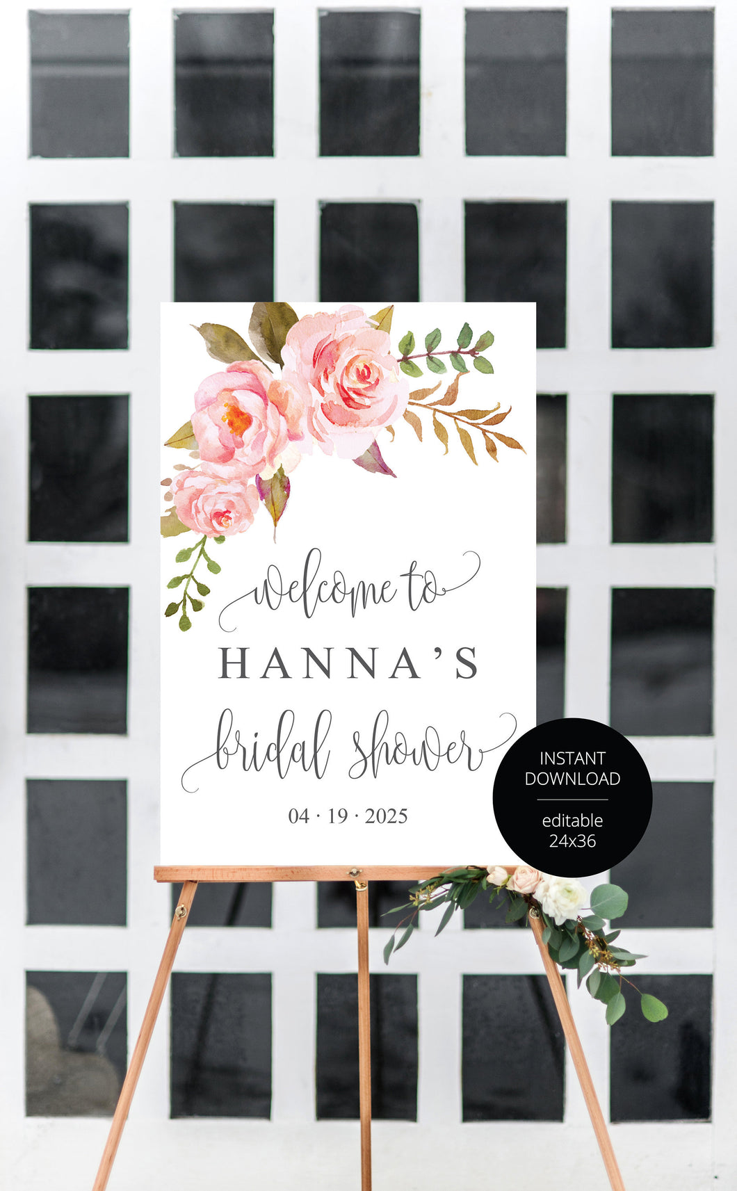 Bridal Shower Welcome Sign Printable Template Editable Instant Download Floral Wedding Décor  -HANNA