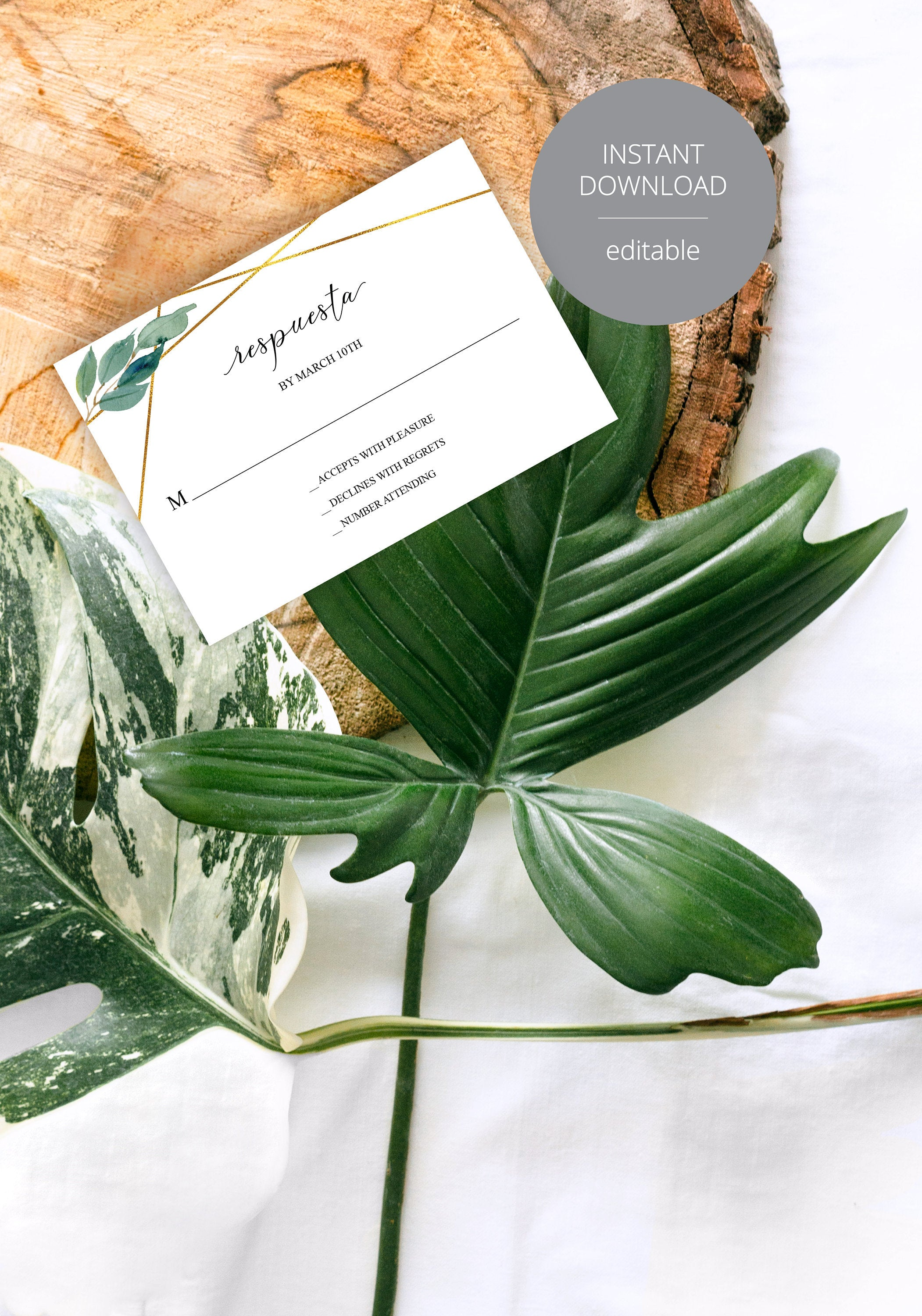 Spanish RSVP Card Template, Wedding RSVP, Response Card, RSVP cards, Geometric Wedding, Printable rsvp, Wedding Response, Greenery  - Tara