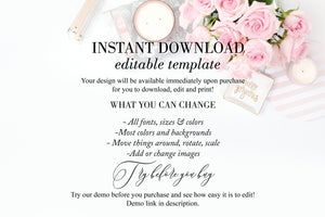 Printable Welcome Wedding Gift Bag Tags Favors Instant Download, 100% Editable- Fleur