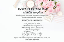 Load image into Gallery viewer, Printable Wedding Itinerary Template Card Timeline Welcome 100% editable Templett Floral Dusty Blue Blush - Rhea