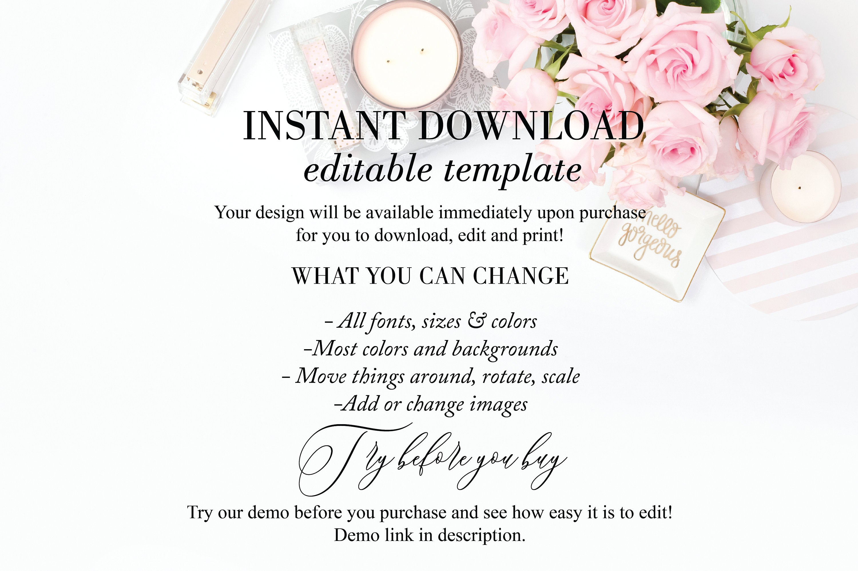 Printable Thank You Tags Template Wedding Bridal Shower Instant Download 100% Editable- Jasmine