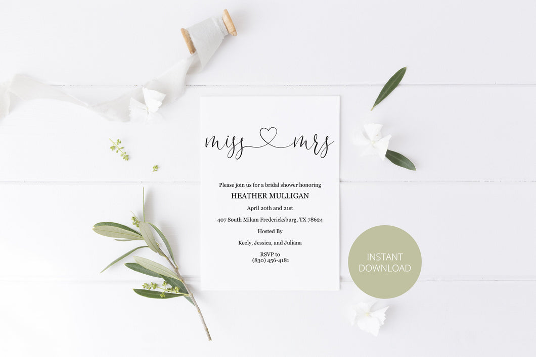 Miss to Mrs Bridal Shower Invitation Instant Download Printable Editable Template DIY Bridal Shower Invite  - Heather
