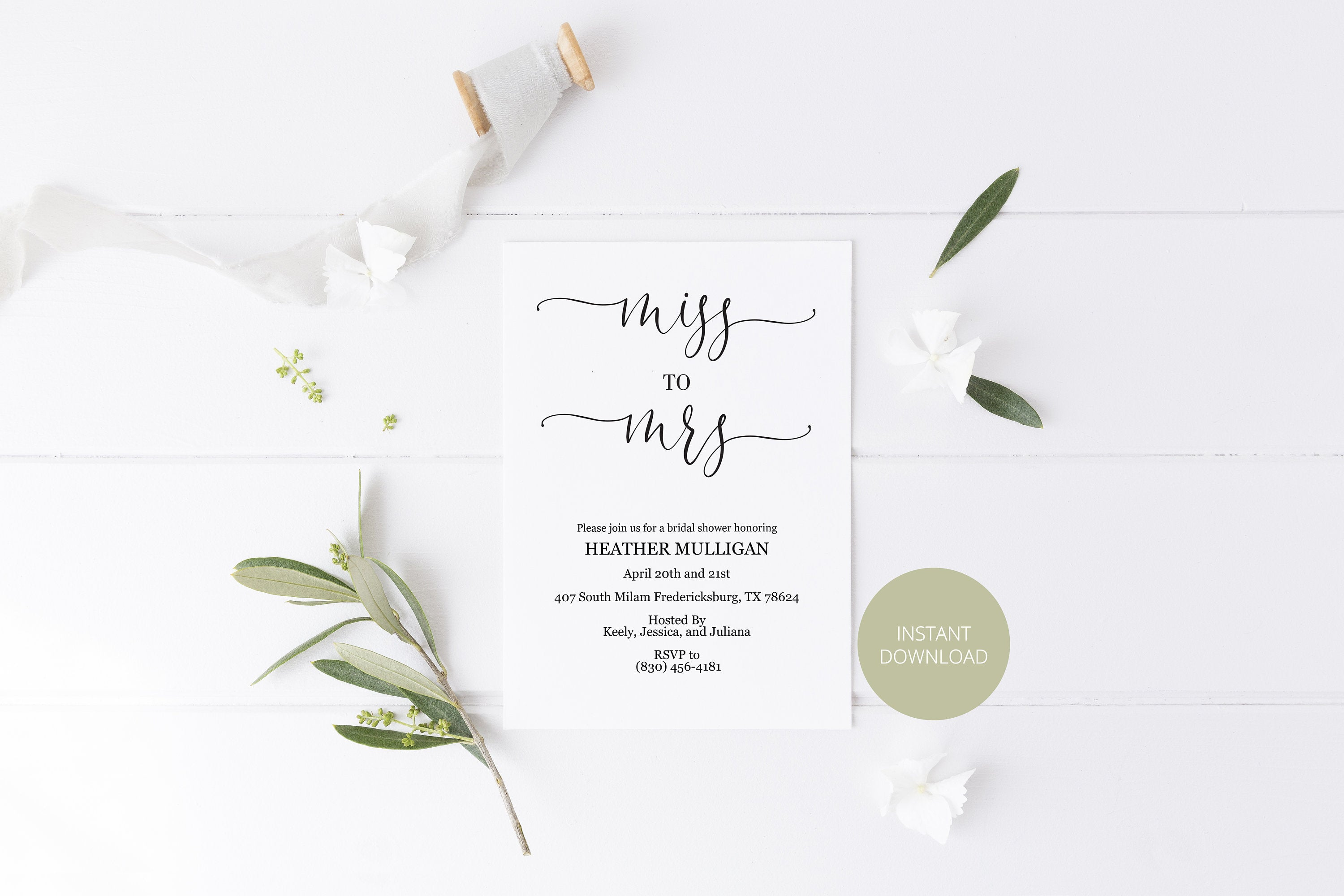 Miss to Mrs Bridal Shower Invitation Instant Download Printable Editable Template DIY Bridal Shower Invite Heart - Heather