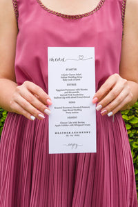 Minimal Wedding Menu Printable Template, Editable Instant Download, Menu Cards, DIY Dinner Menu Heart  - Heather