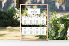 Load image into Gallery viewer, Wedding Seating Chart Template, Printable Greenery Seating Sign, Seating Cards, Editable Text INSTANT DOWNLOAD - Melissa