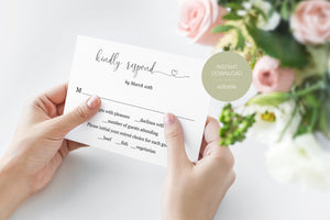 RSVP Card Template, Wedding RSVP, Response Card, RSVP cards, Rustic Wedding, Printable rsvp, Wedding Response  - Heather