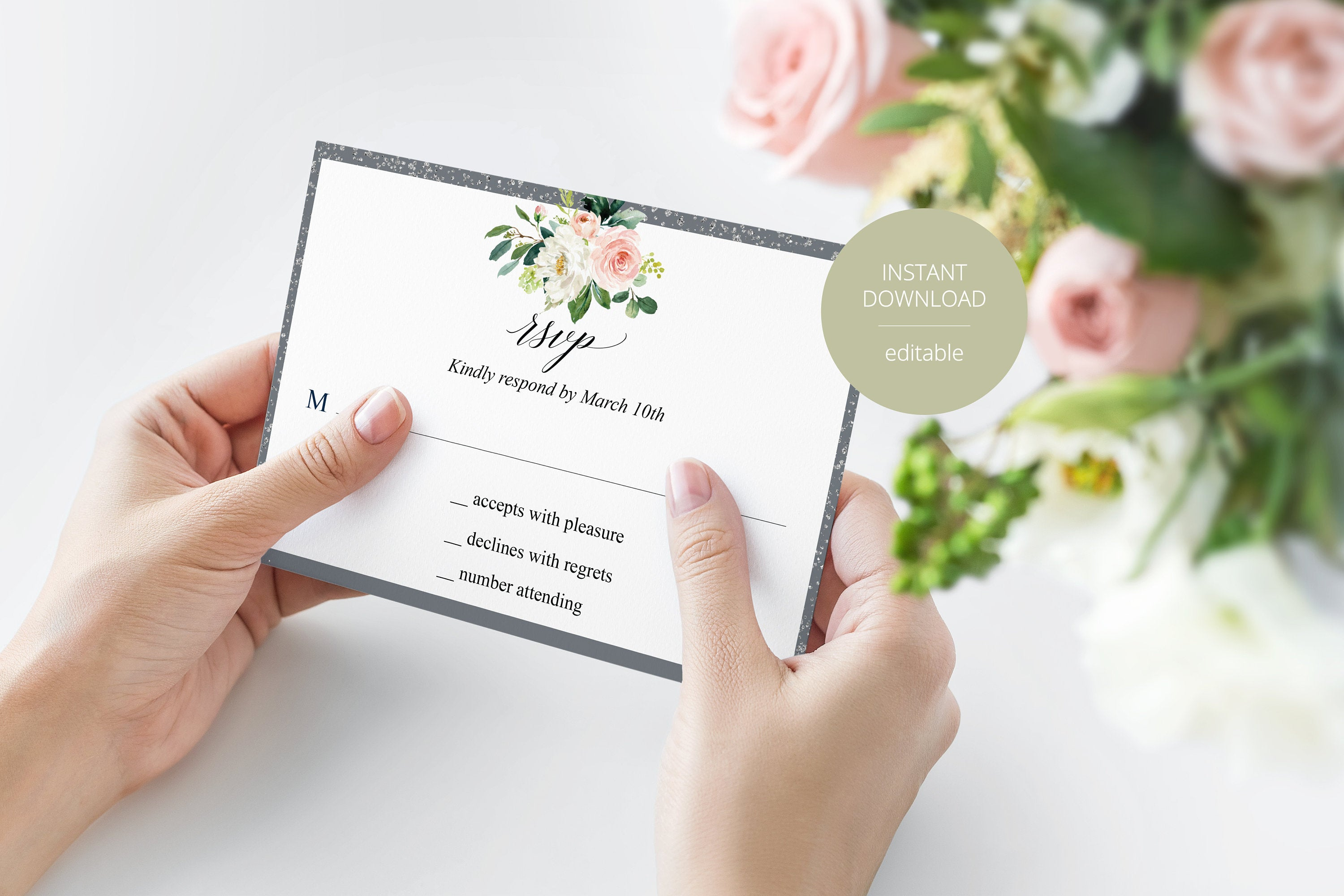 RSVP Card Template, Wedding RSVP, Response Card, RSVP cards, Gold Wedding, Printable rsvp, Wedding Response, Floral, Grey, Silver - Eloise