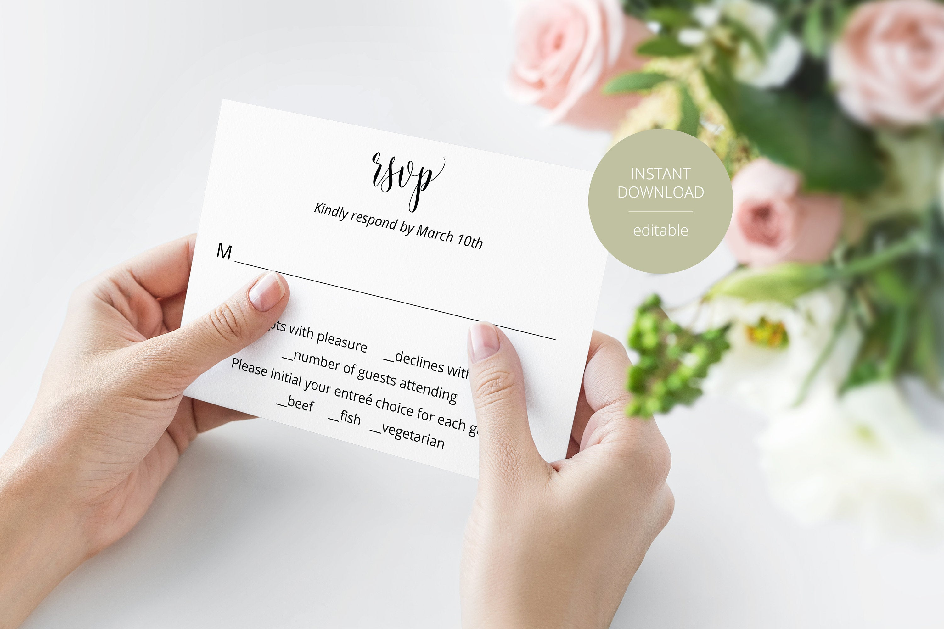 RSVP Card Template, Wedding RSVP, Response Card, RSVP cards, Rustic Wedding, Printable rsvp, Wedding Response  - Hannah