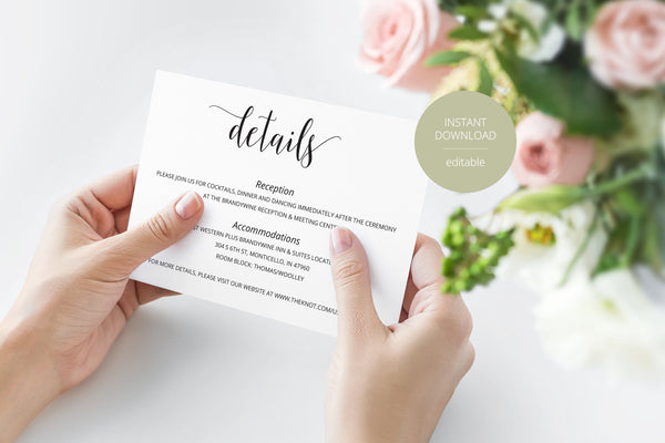 Wedding Details Card Template, Instant Download, Information Card, Wedding Info Card, Rustic Wedding,Details Template  - Hannah