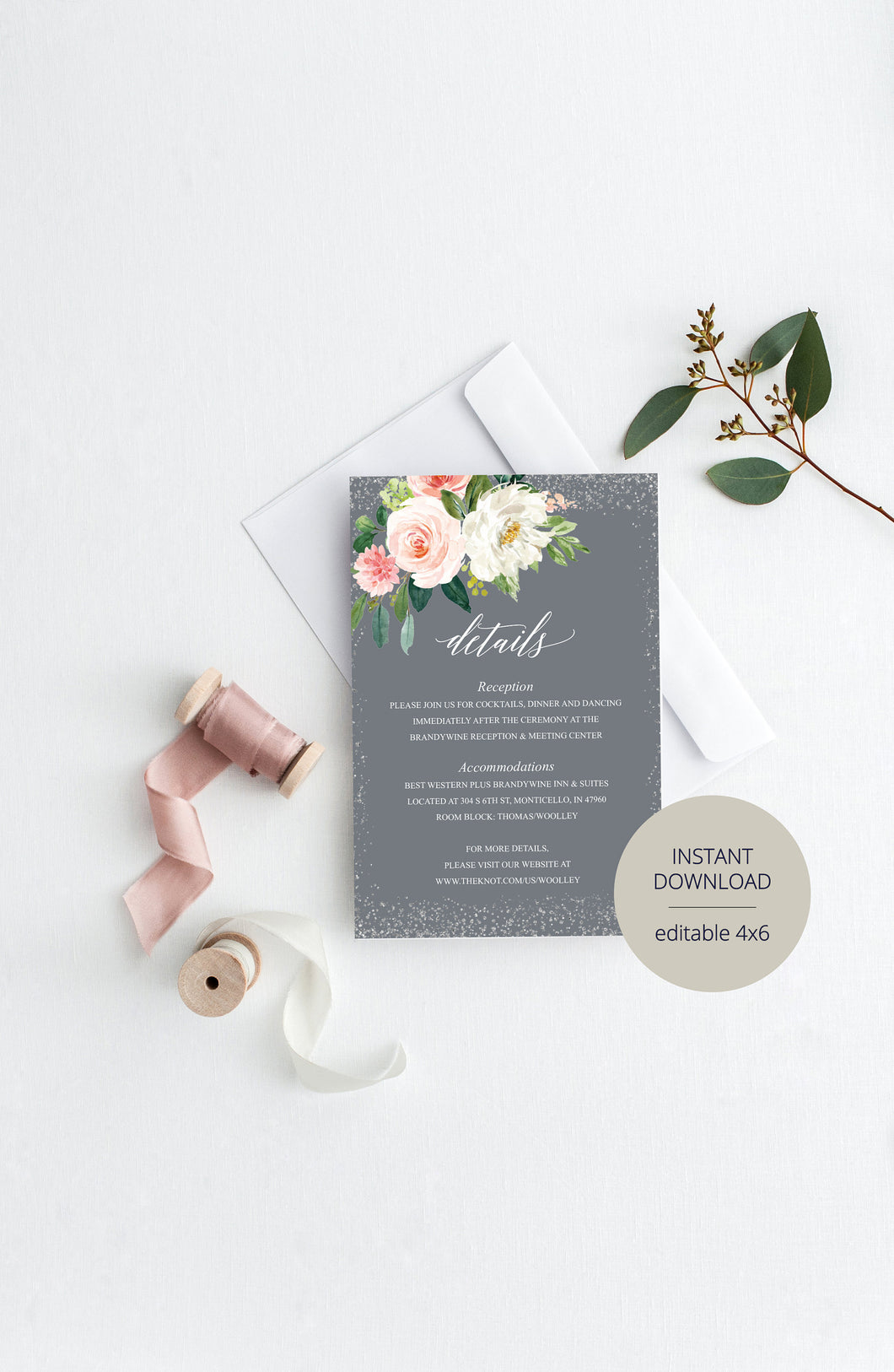 Wedding Details Card Template, Instant Download, Information Card, Wedding Info Card, Gray Silver Wedding,Details Template,Floral   - ELOISE