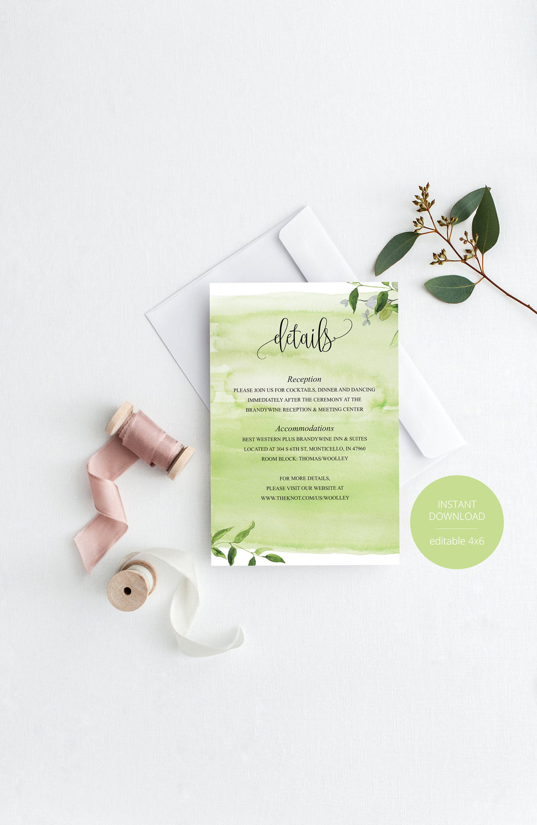 Wedding Details Card Template, Instant Download, Information Card,Wedding Info Card,Watercolor Wedding,Details Template, Greeneryl - MELISSA