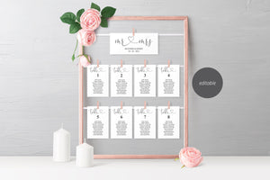 Wedding Seating Chart Template, Printable Floral Seating Sign, Seating Cards, Editable Text INSTANT DOWNLOAD - Heather