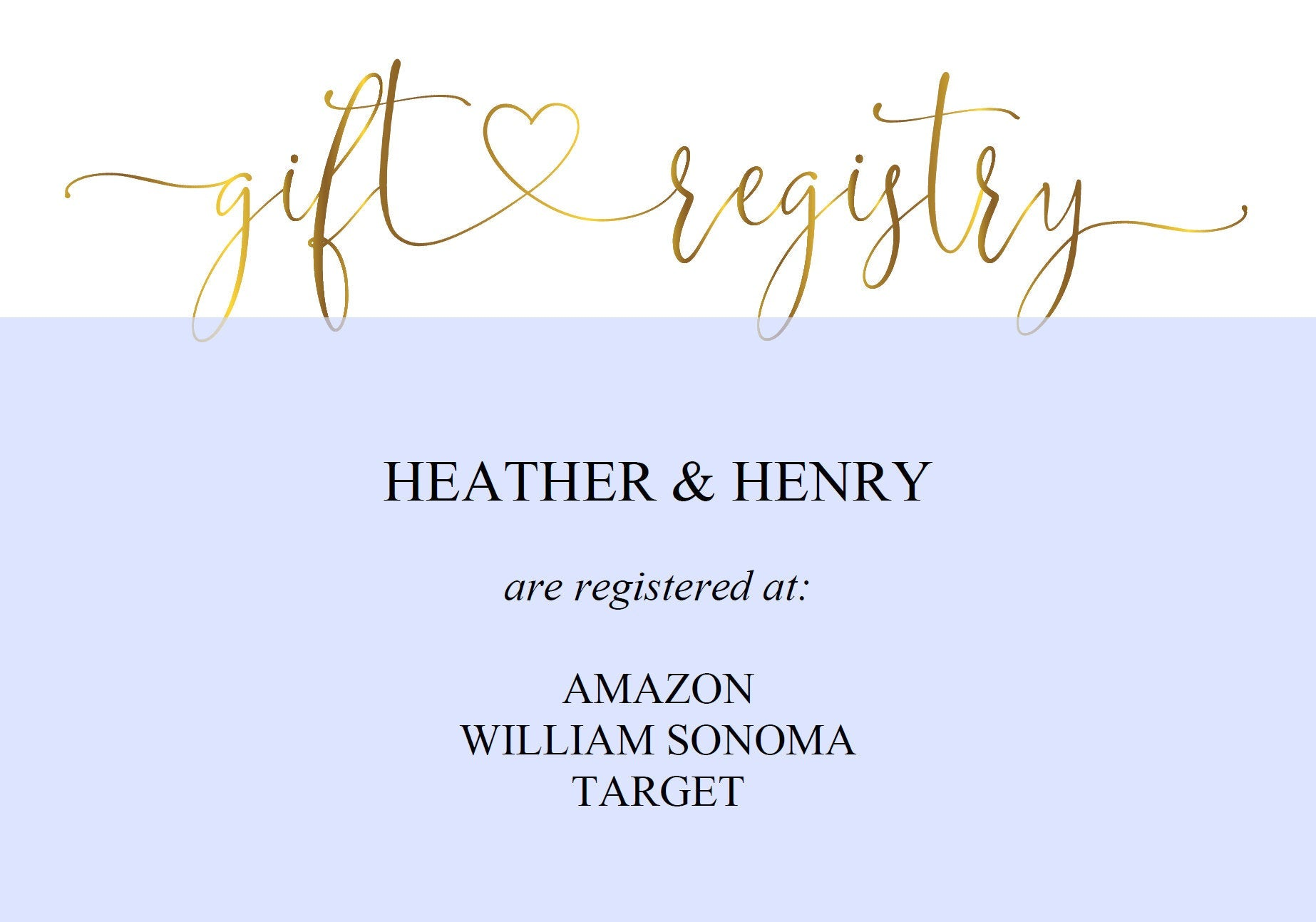 Gold Registry Card, Gift Registry, Wedding Template, Enclosure Cards, Registry Wedding, Shower Registry, Registry Card Insert  - Heather