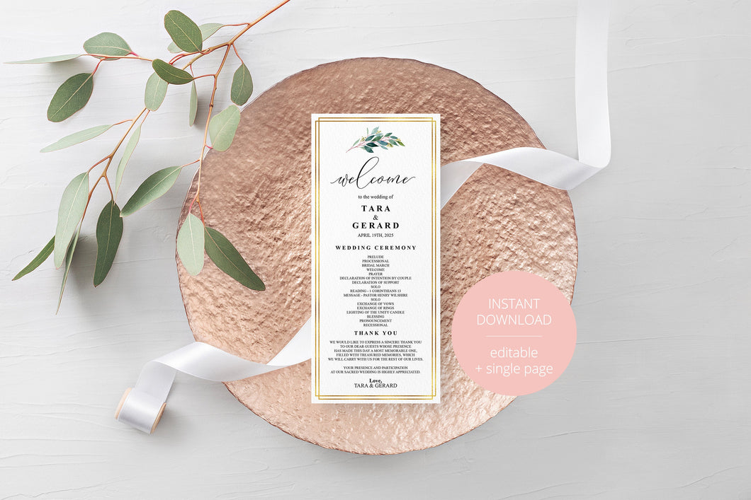 Greenery Gold Wedding Program Template Printable Ceremony Programs Editable Template Instant download - TARA