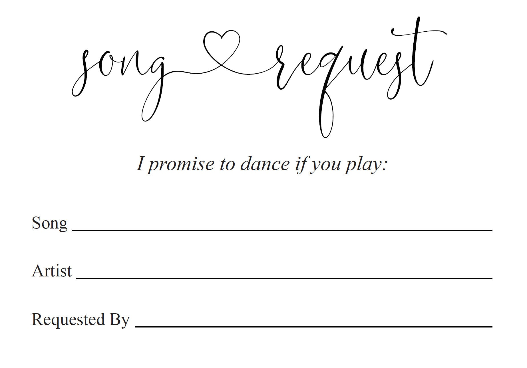 Let's dance card, Song Request Insert Card Template, Dancing Card, Dance Card, RSVP, Wedding Song Request, Rustic  - Heather